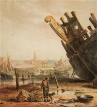 a fisherman unloading his catch in the fishing port, liverpool town beyond by samuel austin