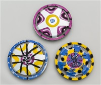 three wheel covers (3 works) by kenny scharf