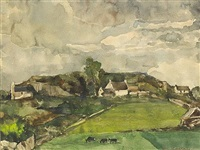 landscape with cottages and cattle by maurice macgonigal