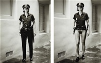 evi the cop, beverly hills (diptych) by helmut newton