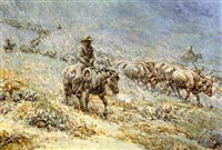 cattle drive at night by joseph de yong