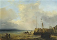 fishermen at the harbour wall, low tide by baron jean antoine théodore gudin