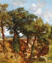 les grands chênes près du ravin by prosper georges antoine marlhat and constant troyon