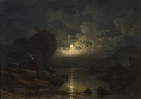 kystlandskap med folkeliv i måneskinn by knud andreassen baade