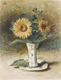 hélas! je ne suis pas van dyck: two sunflowers in a vase by léon joseph florentin bonnat