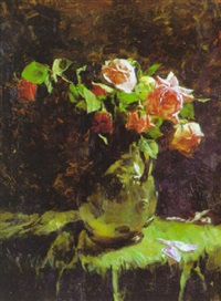 still life with roses in a pitcher by harold l. macdonald