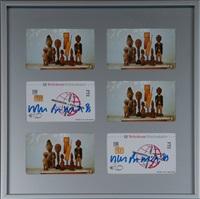 installation aus 6 telefonkarten evolution, telekom ftz by martin kippenberger