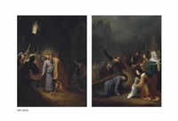 the betrayal of christ; christ on the road to calvary, with saint veronica (2 works) by dirck dircksz van santvoort