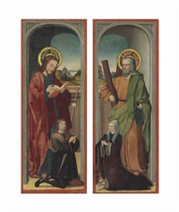 saint james with a male donor; saint andrew with a female donor (pair) by bartholomaus (barthel) bruyn (-unattributable)