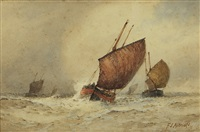 ships on stormy seas by frederick james aldridge