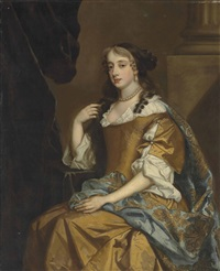 portrait of a lady, traditionally identified as bridget bertie, duchess of leeds (1629-1704), three-quarter-length, in a gold dress and a gold-embroidered blue mantle, seated by a pilaster by sir peter lely