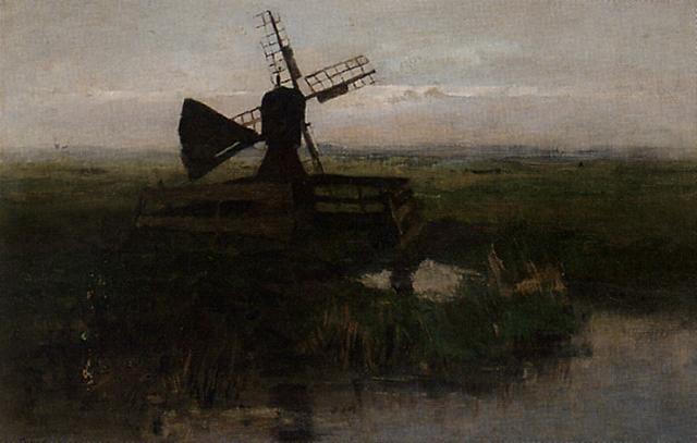 a windmill in a polder landscape by jacob ritsema