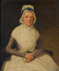portrait of an elderly lady (+ portrait of a lady, irgr; pair) by samuel de wilde