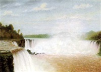 niagara falls from the canadian side, with figures viewing from the cliffs by william h. kay