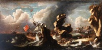 a rocky coastline with a ship running aground in a storm by jan peeters the elder
