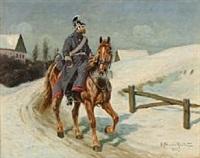 dragoons on a snowy road by karl frederik christian hansen-reistrup