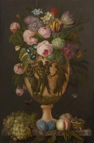 vase fleuri sur un entablement by belgian school 19