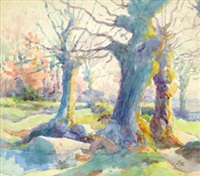 paysan breton au pied de l'arbre by louis georges eléonor roy