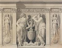 deux figures près d'amphores entourées de deux anges by jean guillaume moitte