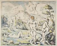 les baigneurs (large plate) by paul cézanne