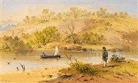 waiting for the sail ferry, river yarra by samuel thomas gill