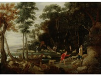 shepherds and sherpherdesses tending to their flocks in a landscape by jan wildens