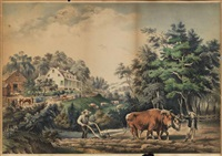 four works: american farm scenes by currier & ives (publishers)