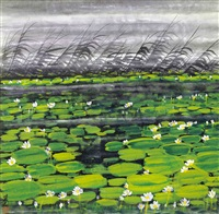 荷塘 (lotus pond) by lin fengmian