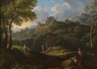 paysage de la campagne romaine avec pâtres au repos et villageois by jan frans van bloemen