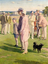 saturday afternoon, the cricket match on blackheath by francis h. dodd