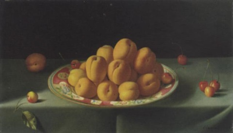 still life with apricots by fernand renard