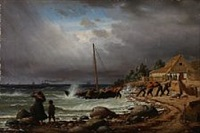 the fishing boat is drawns ashore by peter (johann p.) raadsig
