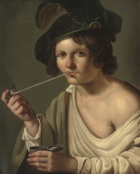 a young man, in a feathered cap, smoking a pipe by christian van couwenbergh
