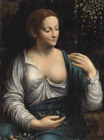 la columbine portrait of a woman as flora half length in a white embroidered dress with a ruby broach and a blue wrap holding an aquilegia in her left hand with jasmine and anemones on her lap fern and kenilworth ivy climbing a wall beyond by leonardo da vinci