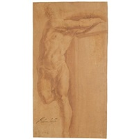 a figure on a cross (study) by giovanni andrea ansaldo