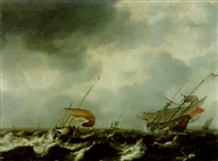 a kaag and a fluyt in a storm by hendrick van anthonissen