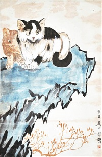 二貓圖 xu beihong two cats by xu beihong