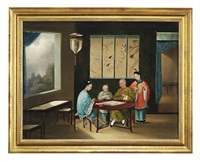 chinese ladies playing card games in an interior (+ a family playing go in an interior; 2 works) by youqua