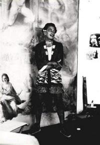 salvador dali dans son atelier devant la peinture l'immaculée conception (où figure gala) by pierre argillet