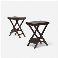 folding tables, pair by pierre jeanneret