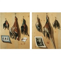 a still life with a hen pheasant, finches and a jay hanging from a wooden backdrop with a bavarian game card, a penknife and a letter (+ a cock pheasant, songbirds and a jay hangi by joseph marquard (jol nathan) treu