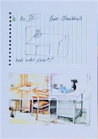 collage aus dummies zu telefonkarten mit motiv schreibtisch by martin kippenberger