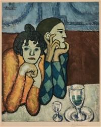l'arlequin et sa compagne by pablo picasso