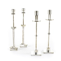 four candlesticks by ettore sottsass
