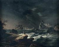 bateau sur les côtes portugaises sous un temps gris by alexandre jean noel