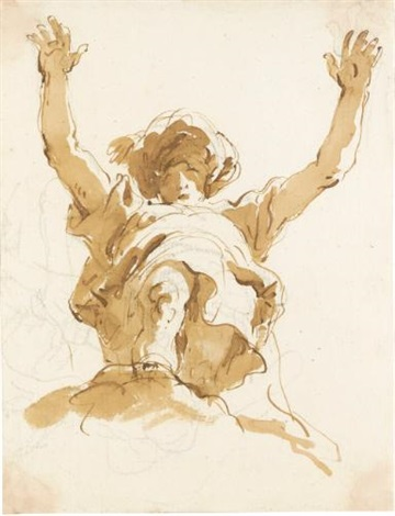 study of a figure with a turban and raised arms, seen from below by giovanni battista tiepolo