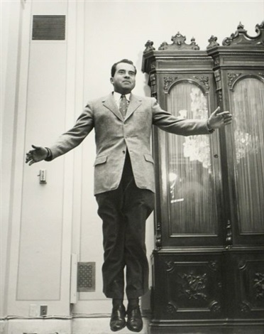 richard nixon jumping by philippe halsman
