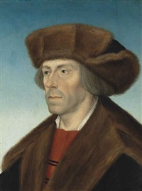 portrait of a gentleman, bust-length, in a fur hat and a fur-trimmed coat by hans maler