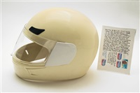 white crash helmet by carl andre