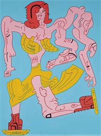 untitled (skaters: red hair) by karl wirsum